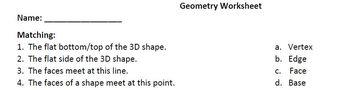 MATH: GEOMETRY- Worksheet / Printable