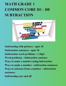 MATH GRADE 1 COMMON CORE - D1 To D8 - SUBTRACTION SENTENCE