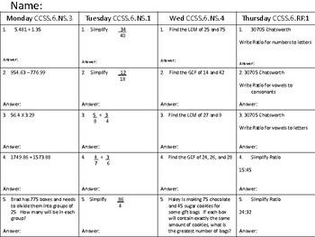 MATH HOMEWORK CCSS.6.NS1,3,4 RP1 WEEK 7