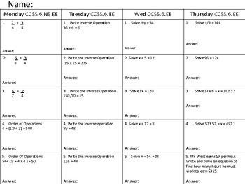 MATH HOMEWORK CCSS6.EE WEEK 12