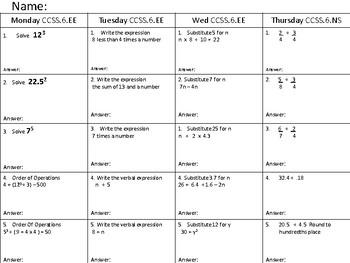 MATH HOMEWORK CCSS6.NS AND EE WEEK 11