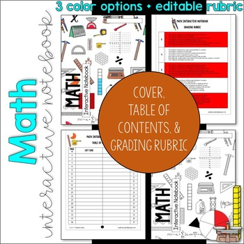 MATH Interactive Notebook Cover, Grading Rubric, and Table of Contents