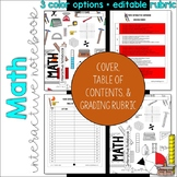 MATH Interactive Notebook Cover, Grading Rubric, and Table