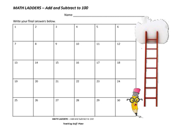 Addition & Subtraction to 100 | FUN MATH LADDERS | Gr. 2-3 CORE REVIEW
