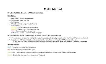 MATH MANIA BOARD GAME (6th Grade - Unit 1)