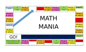 MATH MANIA BOARD GAME (7th Grade - Unit 1)