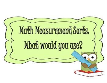 MATH MEASUREMENT SORTS & QUIZ ~ GRADES 1ST, 2ND, 3RD, OR E