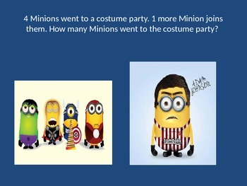 MATH MINIONS! Addition under 10 Powerpoint Game. Word problems and more!