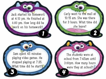 MATH MONSTERS: Telling Time & Elapsed Time