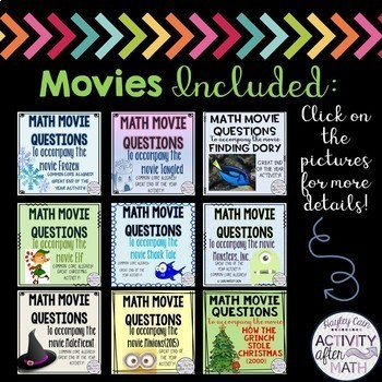 MATH MOVIE questions BUNDLE! Over a 20% savings!!