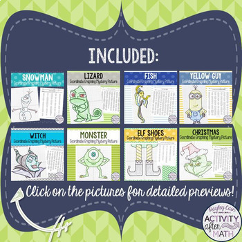 MATH MOVIE questions with Coordinate Graphing Mystery Pictures HUGE BUNDLE!