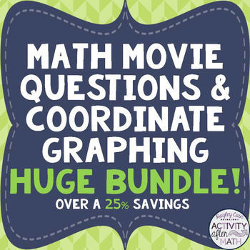 MATH MOVIE questions with Coordinate Graphing Pictures HUGE BUNDLE