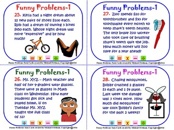MATH MULTI-STEP WORD FUNNY PROBLEMS: 164 Task Cards. Books 1-5 BUNDLE, 50% OFF!