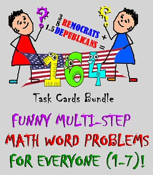 MATH MULTI-STEP WORD FUNNY PROBLEMS: 164 Task Cards. Books