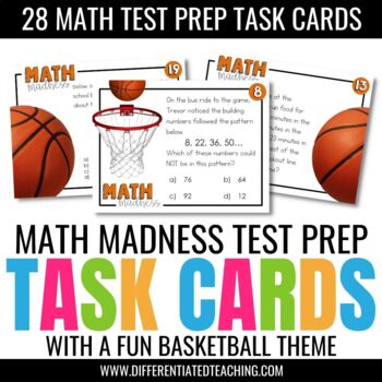 28 Math Test Prep Task Cards: A Basketball-themed Review Activity