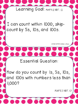 "MATH- Marzano ""I can"" Statements and (EDITABLE) Essential Qu.- 2nd Fl- Dots"