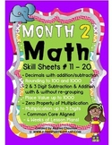 MATH Skill Sheets & Mini-Lessons MONTH 2-Decimals, Rounding & 3 Digit Multip.
