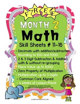 MATH Mini-Lessons - Month 2 - FREE! by ElementaryElephant