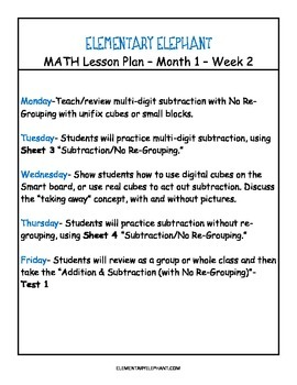 MATH Skill Sheets & Mini-Lessons MONTH 1- Place Value, Addition/Subtraction