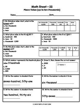 MATH Skill Sheets & Mini-Lessons MONTH 3 - Estimation & Decimals