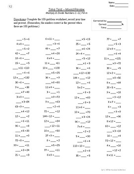 MENTAL MATH | Multiplication & Division | 12 Basic Facts Time Tests  (Gr. 2-7)