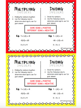 MATH: Multiplying & Dividing Integer Rules - Mini Student Visuals