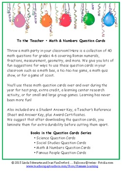 MATH & NUMBERS QUESTION CARDS