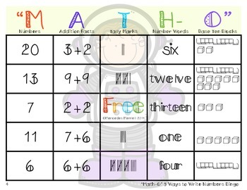 """MATH-O"" 5 Ways To Express Numbers 1-20 Space Theme Bingo"