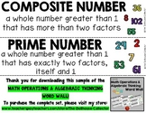 MATH OPERATIONS & ALGEBRAIC THINKING WORD WALL Freebie Sample! COMPOSITE & PRIME