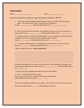 MATH OPERATIONS: EVERYDAY OCCURRENCES ACTIVITY SHEET