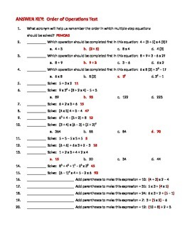 MATH ORDER of OPERATIONS Algebra WORKSHEET & TEST Assessment w/ Answers