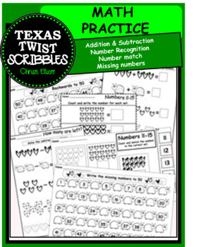 MATH SET addition-subtraction-number recognition {Texas Twist Scribbles}