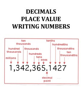 PLACE VALUE, DECIMALS, AND WRITING NUMBERS (GRADES 3 - 4)
