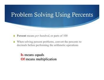 MATH POSTERS:Problem Solving Using Percents