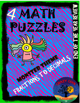 FRACTIONS TO DECIMALS PUZZLE MONSTER THEME