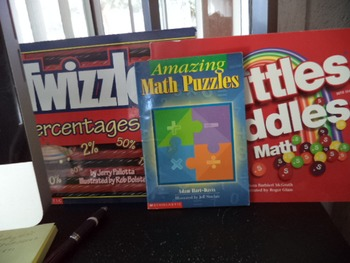 MATH PUZZLES,SKITTLES RIDDLES,TWIZZLERS PERCENTAGE BK   SET OF 3