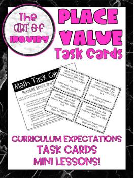 MATH | Place Value Task Cards | Grade 3 & Grade 4
