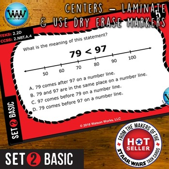 MATH READY 2nd Grade Task Cards: Comparing/Ordering Numbers to 1,200~BASIC SET 2