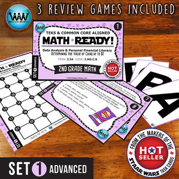 MATH READY 2nd Grade Task Cards: Determine Value of Coins up to $1 ~ ADVANCED 1