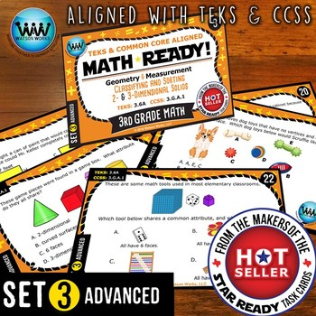 MATH READY 3rd Grade Task Cards – Classify & Sort 2D & 3D Solids ~ ADVANCED 3
