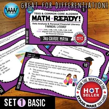 MATH READY 3rd Grade Task Cards - Financial Literacy ~ BASIC SET 1