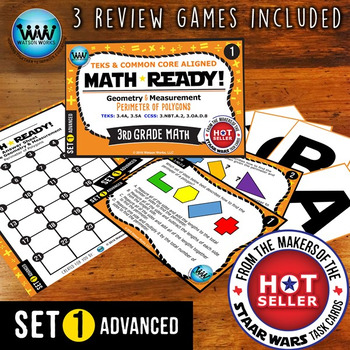 MATH READY 3rd Grade Task Cards - Perimeter of Polygons ~ ADVANCED SET 1