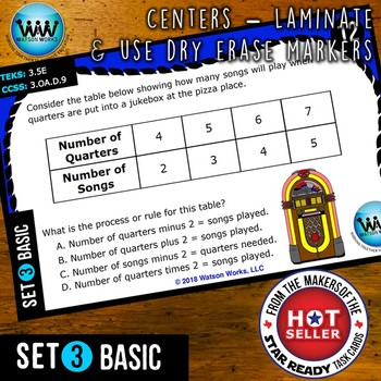 MATH READY 3rd Grade Task Cards: Representing Relationships in a Table ~ BASIC 3