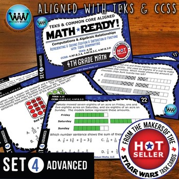 MATH READY 4th Grade Task Cards: Adding & Subtracting Fractions ~ ADVANCED SET 4