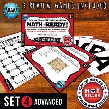 MATH READY 4th Grade Task Cards - Comparing Fractions ~ ADVANCED SET 4