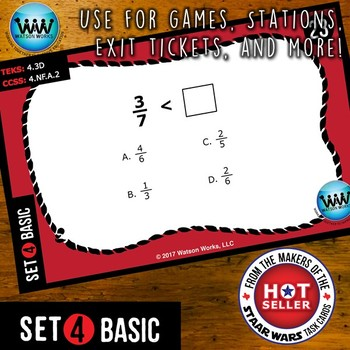 MATH READY 4th Grade Task Cards - Comparing Fractions ~ BASIC SET 4