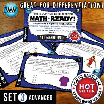MATH READY 4th Grade Task Cards: Representing Multi-Step Problems~ADVANCED SET 3