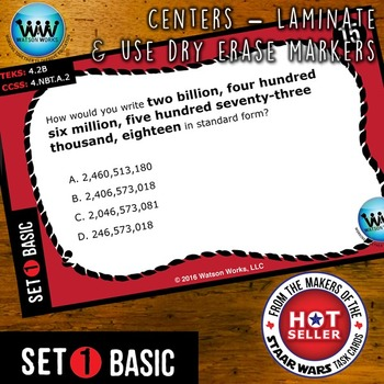 MATH READY Task Cards - Representing Value of Digit to 1 Billion ~ BASIC SET 1