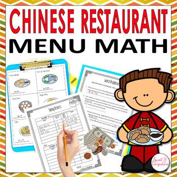 MATH RESTAURANT MENU ASIAN FOOD - Real World Math Grades 3-4