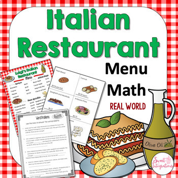 MATH RESTAURANT MENU ITALIAN RESTAURANT - Real World Math Grades 3-4